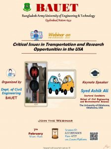 Webinar on Critical Issues in Transportation and Research Opportunities in USA