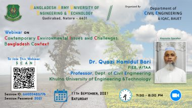 """Webinar on """"Contemporary Environmental Issues and Challenges: Bangladesh context"""""""