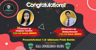 Students of DBA 6th Batch 1st & 2nd Runners-up in 'PresentAction – Ultimate Pride Battle 1.0'. Organized by IBA Business Club- RU in 2020