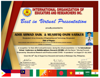 DBA Students Became the Best Virtual Presenter in an International Conference Among Participants from 21 Countries