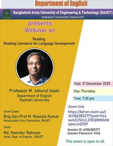 "Webinar on ""Reading: Reading Literature for Language Development"" by Prof. M. Jahurul Islam"